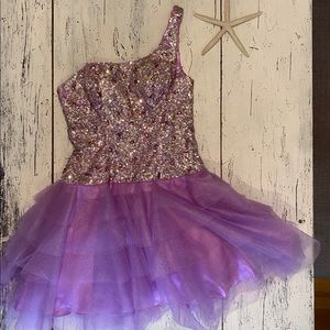 Sparkly one shoulder cocktail dress with tulle